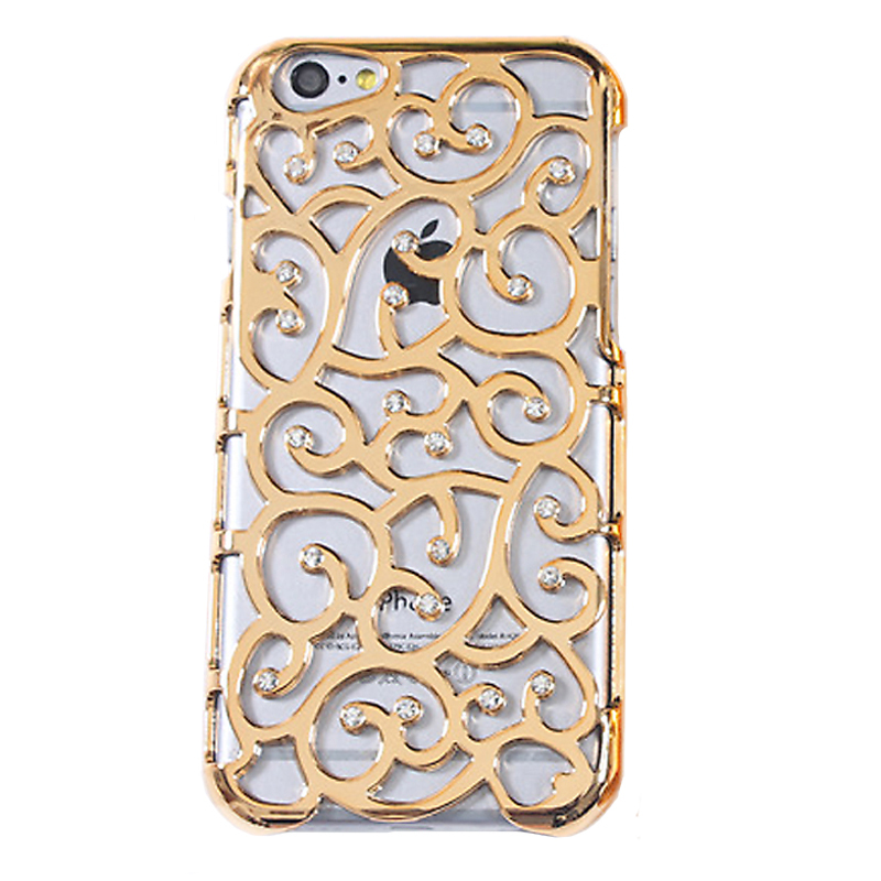 Electroplating flower case Bling Diamond Pierced Carving Artistic palace Plastic Phone Case Back Cover For iPhone 6 4.7 Plus 5.5(China (Mainland))