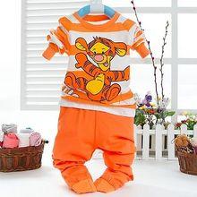 Boys Tager Print 2Pcs Set Long Sleeve Tee shirts Tops  Pant Baby Kids Clothes(China (Mainland))