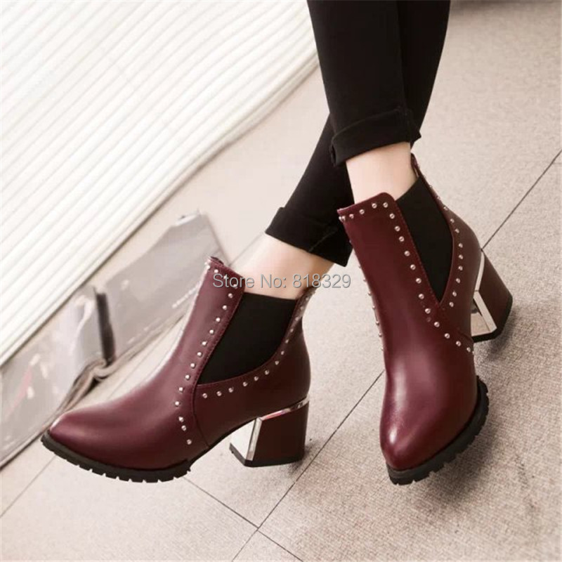 Autumn winter pointed toe rivet boots thick heel fashion martin high-heeled single - Tangtang Store store