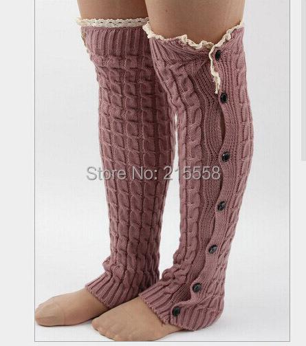 Рождество женщин трикотажные гетры на пуговицах загрузки манжеты кружевной отделкой гетры загрузки носки крючком ноги теплые JJAL G122
