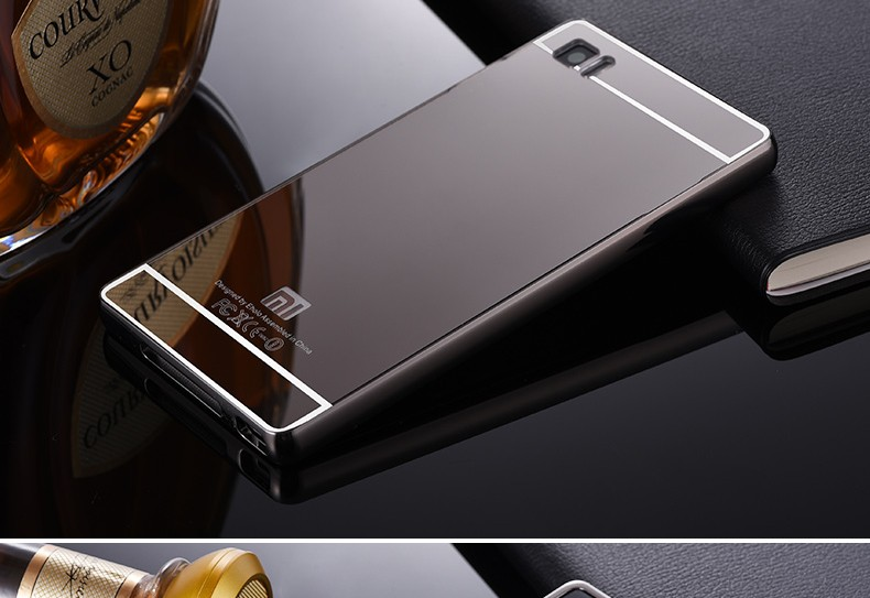 2016 For Xiaomi Mi3 Case Luxury Mirror Metal Aluminum+Acrylic Hard Back Cover For Xiaomi 3 Fundas Phone Bag Accessory Capa