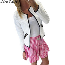 Jacket Women Women Long Sleeve Lattice Tartan Embossing Cardigan Top Coat Summer Jackets Women Cardigan Feminino #2815
