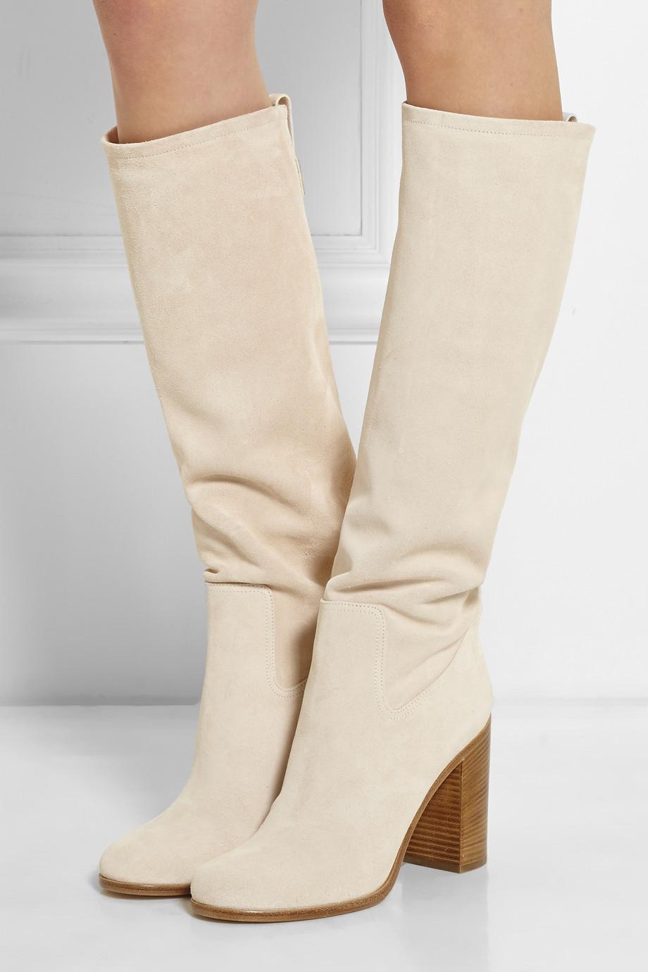 Фотография sexy autumn winter beige 8cm suede women boots new arrival chunky heel cork shoes woman