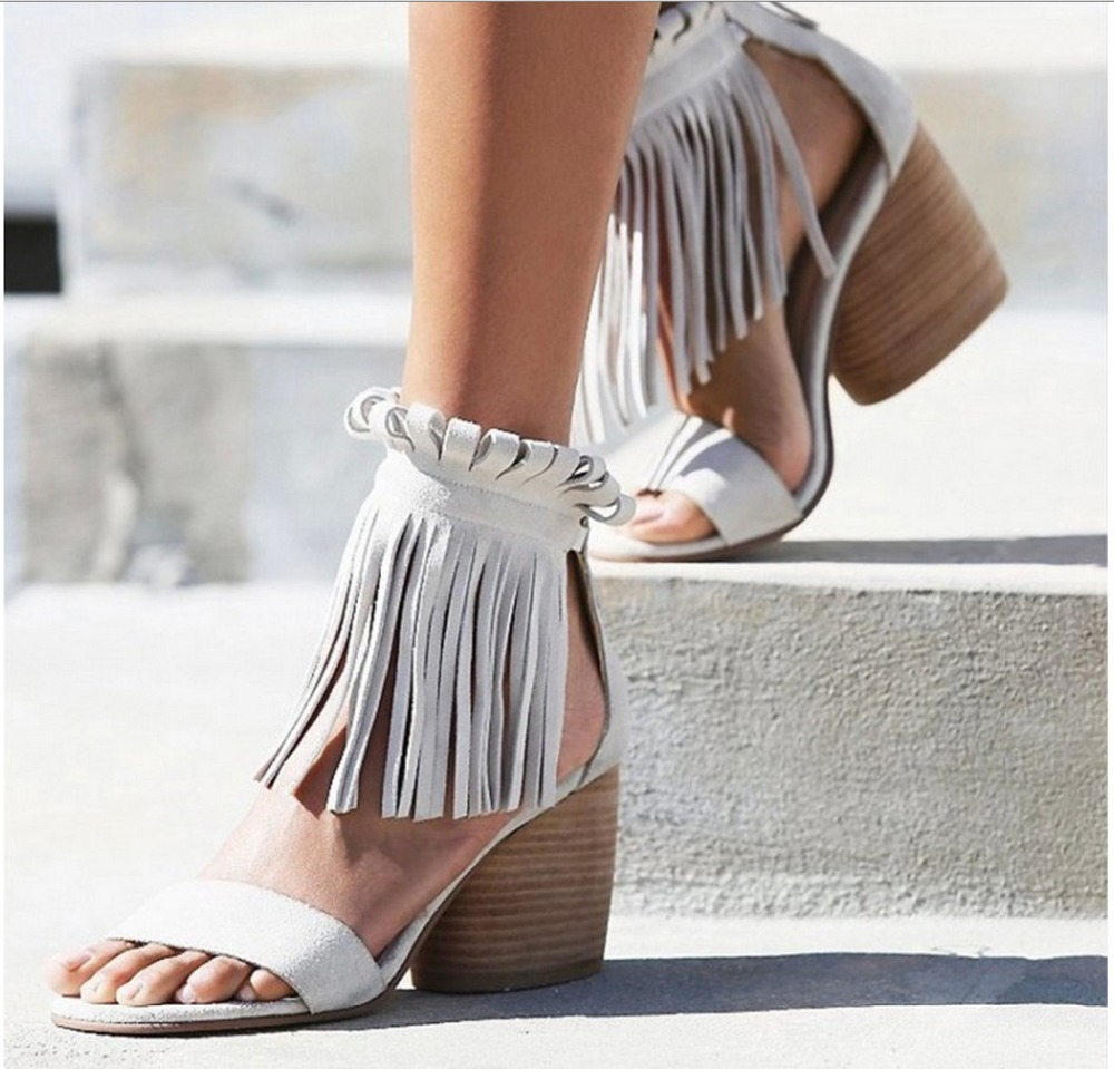 Plus Size 33-42 10 Summer Sexy Gladiator Sandals Fringe Sandals Thick Heeled Brown White Sandals High Heel Sandals for women <br><br>Aliexpress