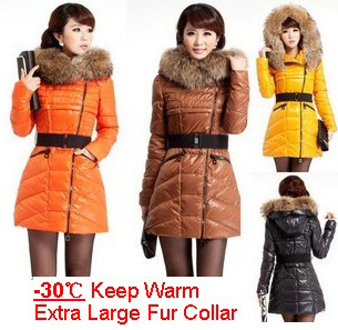 Brand winter duck down coat women' s extra large raccoon fur collar hooded down jacket plus size warm outerwear coat T177