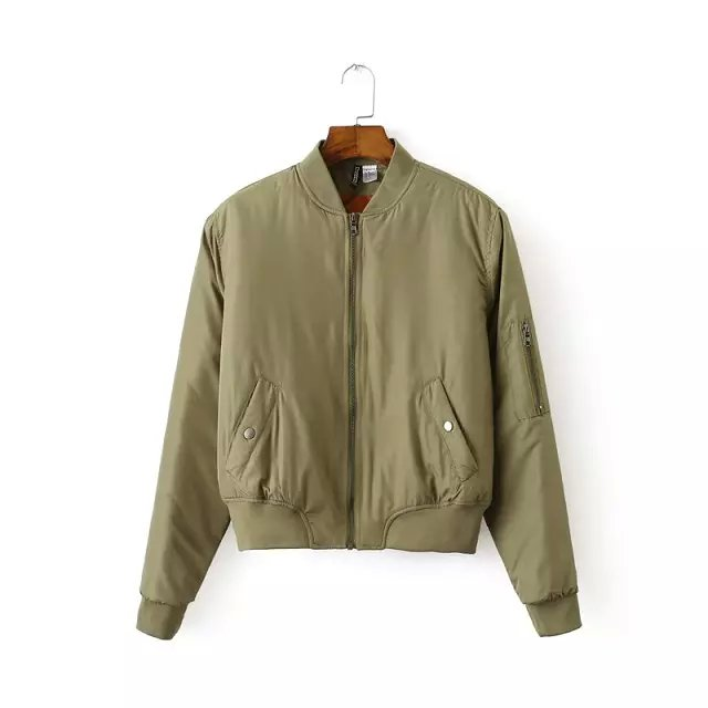 Fashion Women S V Neck Quilting Quilted Army Green Bomber