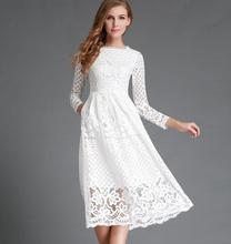 New European 2016 Spring Women's Lace Hollow Out Long Dresses Bohemian Femme Casual Clothing Women Sexy Slim Party Dress Vestido(China (Mainland))