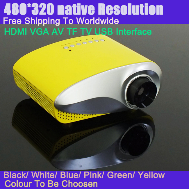 Portable LED Projector 480*320 Native Resolution With HDMI USB TV VGA Interface Mini Projector Wholesale With Free Gift Tripod(China (Mainland))