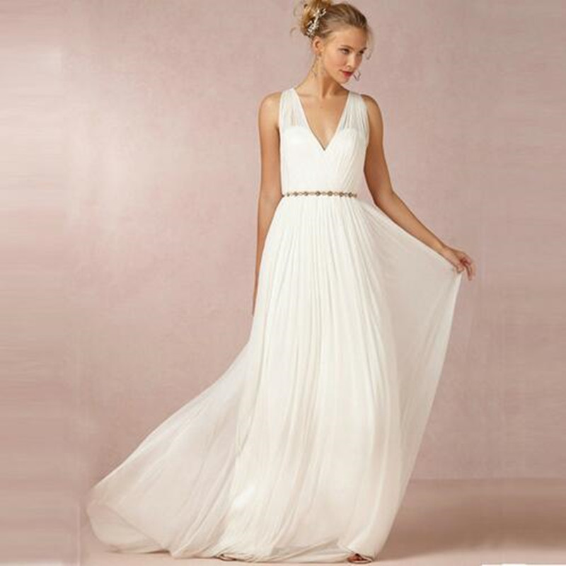 2016 backless v neck wedding dresses boho beach a line for Greece style wedding dresses