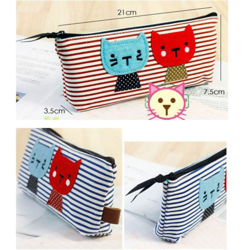 Pouch Purses Stripe Makeup