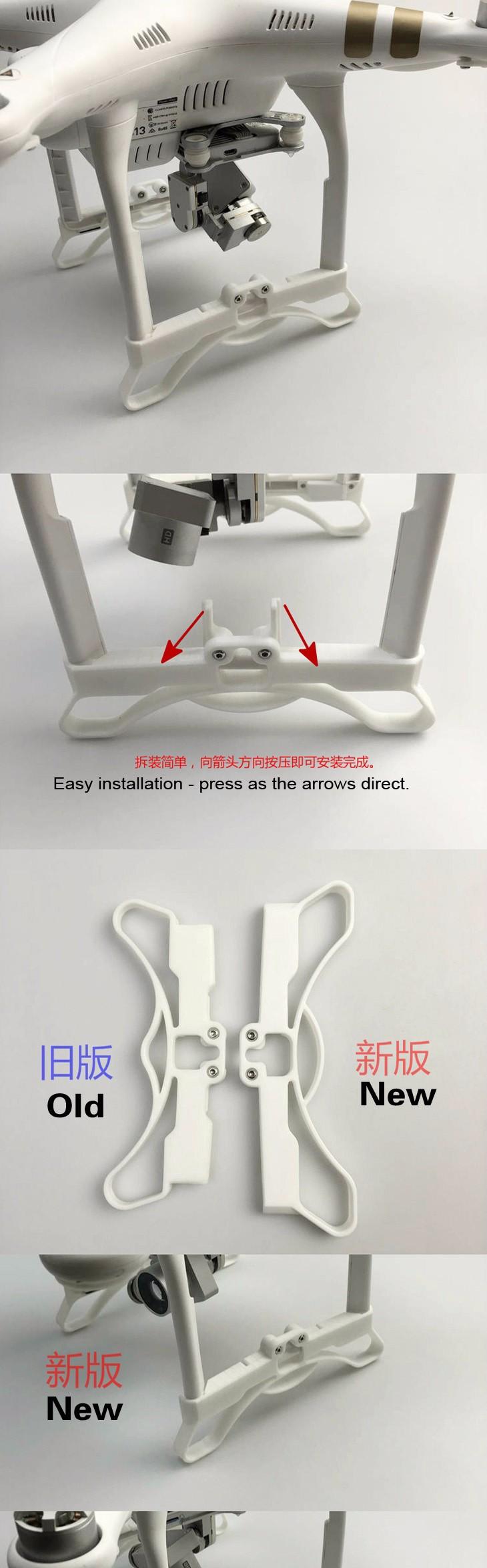 Widened Lengthened Extended Landing Gear for DJI Phantom 3 Drone 3D Printed
