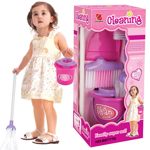 Children Kids Simulation Pretend Play House Cleaning Tool Kit Learn do Housework Toy Broom Mop Dust Pan Brush Bucket miniature(China (Mainland))