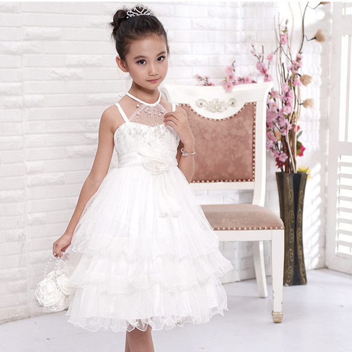 Girls Flower Girl Dress Wedding Party Pearl Decorated White Fancy Tiered Vestidos 10 Year Old KD-14259 - AZEL store