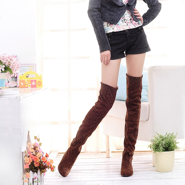 2015 fashion Sexy Thigh High Women Boots Nubuck Leather Dots Plaid Leopard Over-The-Knee Fashion Sexy Motorcycle Botas Ladies(China (Mainland))