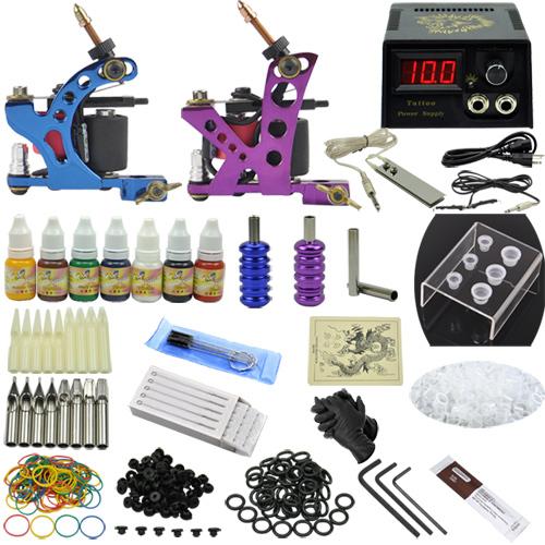 Fashion Tattoo Art Complete Tattoo Kit 2 Machine Guns Prfessional Tattoo Set Equipment Power Supply 7 Color Inks MC-KIT-A2002 <br><br>Aliexpress