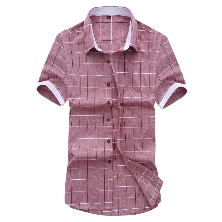 2015 New Arrivals Summer Style Fashion Brand Men Shirt Clothes Slim Fit Men Short Sleeve Plaid