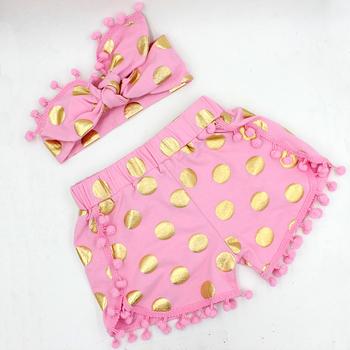 Hot sale gold dots children kids clothing pant headband set Vintage floral cotton Pompom pettiset baby girl clothes