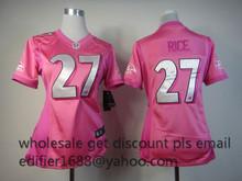 100% stitched women pink love Baltimore Ravens ladies 27 Ray Rice 5 Joe Flacco Embroidery Logos size S TO XXL(China (Mainland))