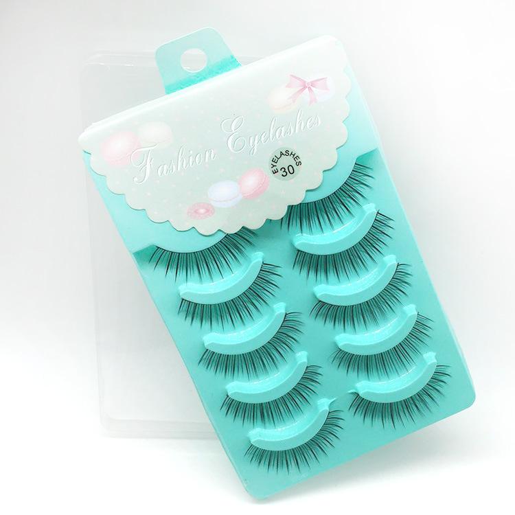 5Pair of Lashes Natural False Mink Eyelashes Hand Made Cilios Posticos Fake Lashes Makeup for Building Eyelash for Professionals(China (Mainland))