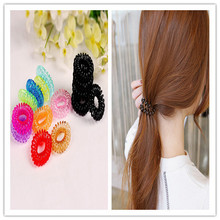 Fashion Multi color Plastic Invisibobble Traceless Elastic Hair Bands Ring Shaped Telephone Line Hair Jewelry For
