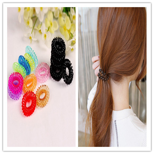 Fashion Multi-color Plastic Invisibobble Traceless Elastic Hair Bands Ring Shaped Telephone Line Hair Jewelry For Kids Women(China (Mainland))
