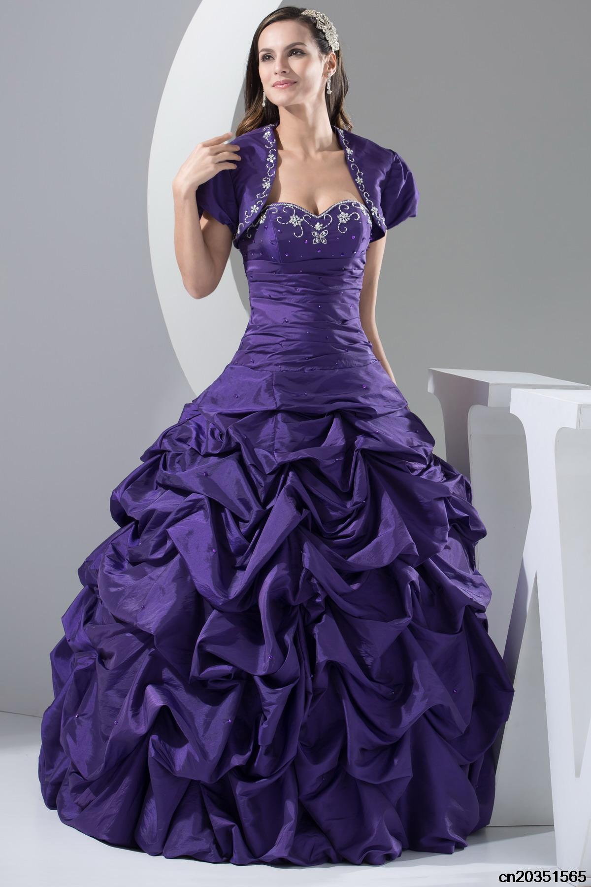 Purple wedding dress with sleeves jacket floor length for Wedding dresses with purple trim