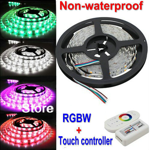 5M RGBW SMD5050 Flexible Led Strips Rope lighting RGB+W white Non-waterproof 12V 72LEDs/M+2.4Ghz RF Touch Controller(China (Mainland))
