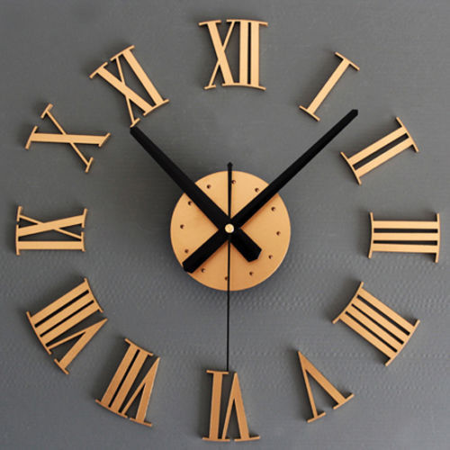 2014 Novelty fashion BIG Metallic DIY Wall Clock 3D Roman Numerals Stickers Home Decor Art Modern - LiuYuan gifts store