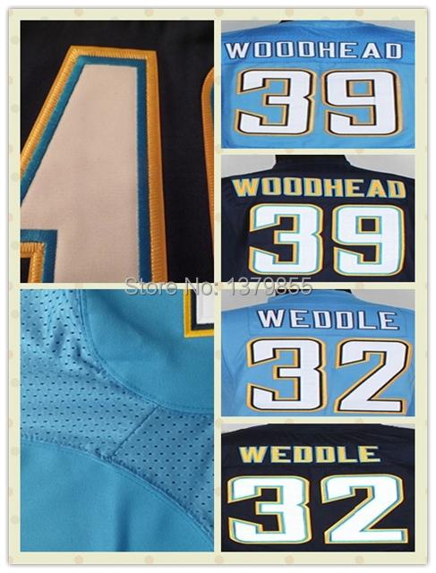 San Diego Elic Weddle #32 Danny Woodhead #39 Dark Blue White Light Blue Elite Stitched 2014 Football/Rugby Jerseys(China (Mainland))