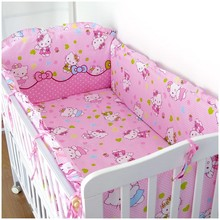 Promotion! 6PCS Hello Kitty Baby Bedding Set Mother Care Bed Sheet (bumpers+sheet+pillow cover)