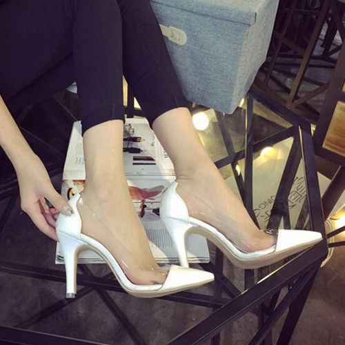 2016 new European and American fashion Women shoes with pointed high heels shoes transparent sexy Women shoes Women pumps(China (Mainland))
