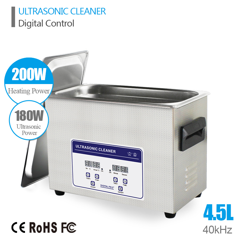 Digital Ultrasonic Cleaner 4.5L 180W 40kHz Basket Watches Dental Lavatrice Ultrasuoni Heated Industrial Ultrasonic Cleaning Bath(China (Mainland))