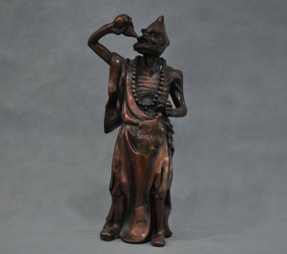 13'' China Folk The Mad Monk Jigong Buddha Drinking Wine Bronze Statue(China (Mainland))