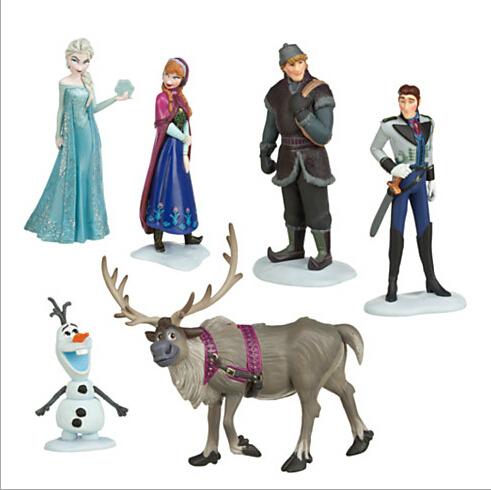 Elsa Anna Figure Toy Play Set Anna Elsa Hans Kristoff Sven Olaf 6pcs/set High Quality Classic Toys scale model(China (Mainland))