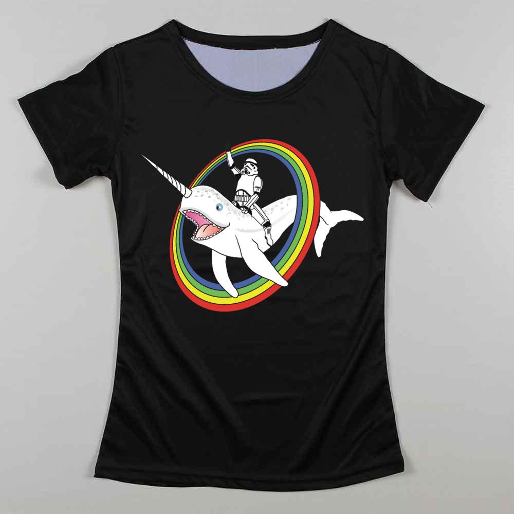 Keep calm T Shirts Women Star Wars Stormtrooper DJ T-Shirt Cotton Rich Gang Woman t shirt Narwhal Rainbow Womens Tees(China (Mainland))