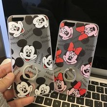 10pcs/lot Cartoon Cute Mickey Minnie Painting Ring Holder Skinny Cover Case For iphone6 6s 6plus Cellphone Body Protector