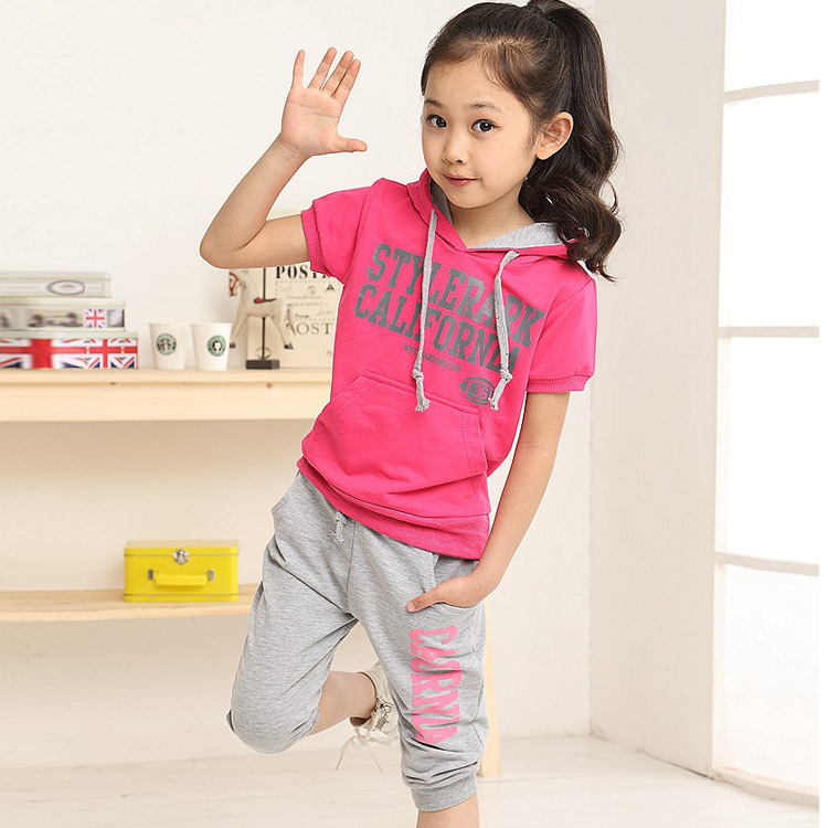 NEW summer girls sets baby girls cotton hoody+pants ...