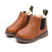 2019 חדש סתיו ילדי נעלי עור מפוצל עמיד למים עור מגפי ילדים חמים שלג מגפי בנות בני גומי מגפי אופנה סניקרס(China)