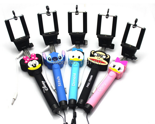 lovely monopod audio cable wired selfie stick extendable cartoon monopod cl. Black Bedroom Furniture Sets. Home Design Ideas