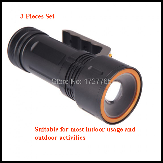 3 pcs 2200 LM Free Shipping Cree Hunting Lights LED Flashlight with Charger outdoor lighting Camping Zoomable Flashlight <br><br>Aliexpress