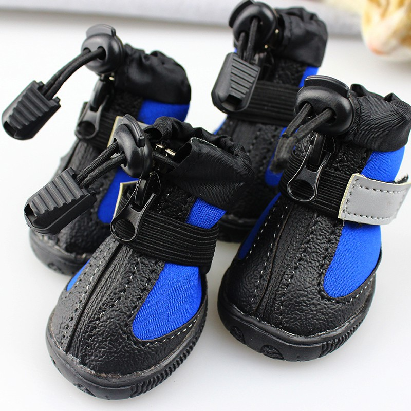 blue black reflective puppy small dogs shoes waterproof