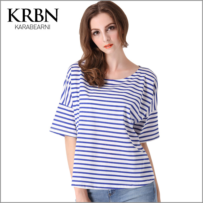 2015 women summer T-shirt womens tops fashion blue strip patchwork sleeve casual plus size 100% cotton t shirt graphic tops T-09(China (Mainland))