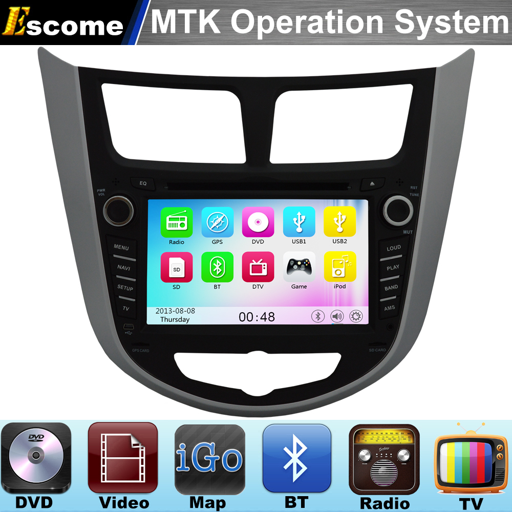 MTK3360 Car DVD Player For HYUNDAI Verna Accent Solaris 2011 2012 with 800MHz CPU Dual Core Bluetooth Radio GPS(China (Mainland))
