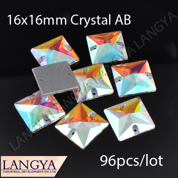 Loose Square Shape Crystal Button 2 Holes Crystal AB 16x16mm Silver Base 96pcs Sewing On Rhinestones