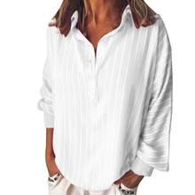Moda verão mulher blusas listra solta casual listrado botão lapela menina camisa de manga longa topo blusa botão roupas femininas(China)