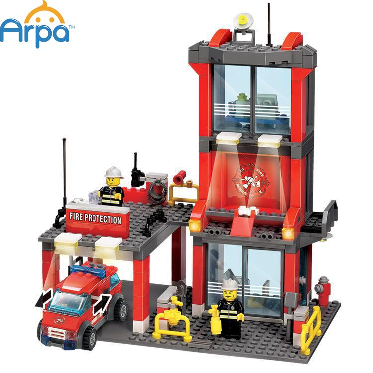 Arpa Lego Compatible Fire Station Truck Helicopter Firefighters Minifigures Engine Children Educational Building Block Toy(China (Mainland))
