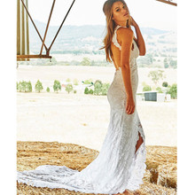 Buy BWD1 Sexy Backless Beach Lace Mermaid Wedding Dress 2016 New Arrival High Neck Slit Wedding Gowns Custom Made Vestido De Noiva for $189.00 in AliExpress store