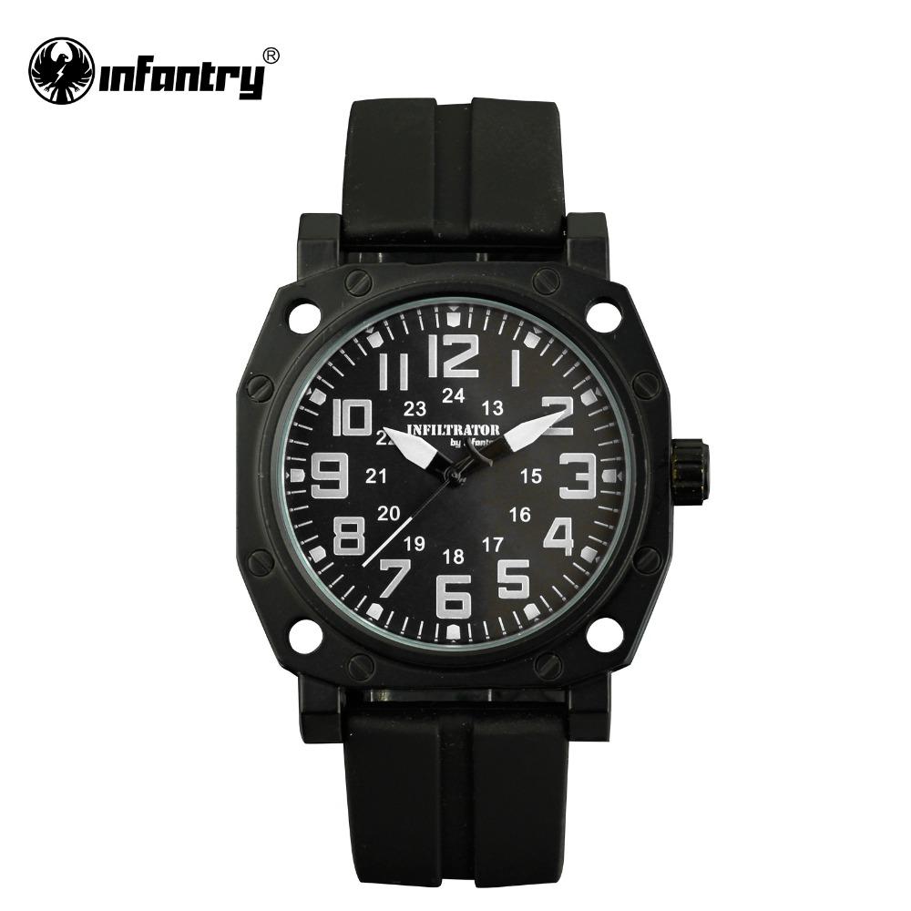 INFANTRY Men Japanese Quartz Watch Casual Fashion Wristwatcch Military Black Silicone Strap Male Clock 24Hours Display Relojes(Hong Kong)