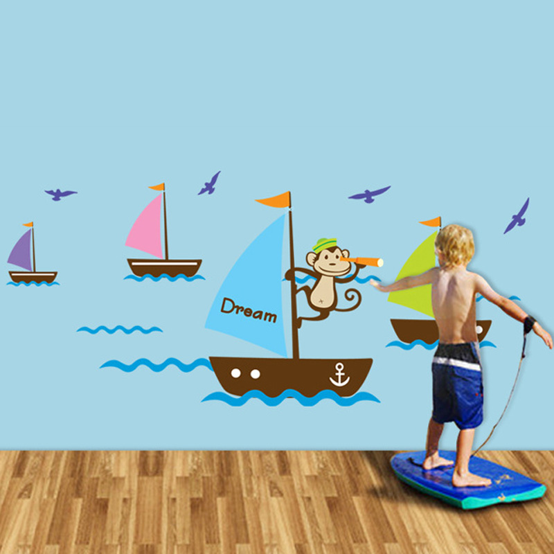1pcs Cartoon Monkey Sailing Wallpaper Vinyl Decals Kids Bed Wall Stickers Living Room Baby Bedroom Home Decoration Accessories(China (Mainland))