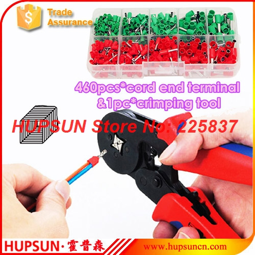 460pc AWG 22-12 0.5-4mm2 insulated tube cord end terminal w/ manual ratchet crimping plier tool HSC8 6-4 AWG 23-10 free shipping(China (Mainland))